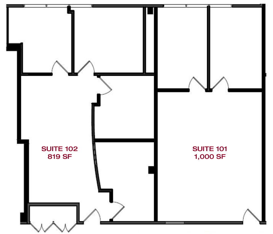 Layout Suite: 101 1,000 SF - 102 819 SF